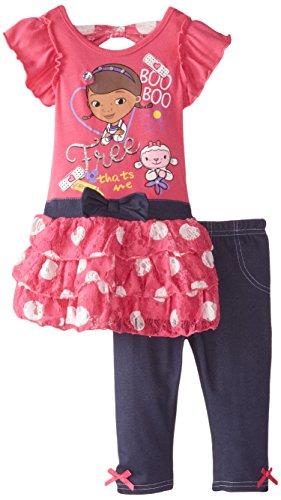 Disney Girls' 2 Piece Doc Mcstuffins Legging Set, Doc Pink, (Doc Mcstuffins Dress)