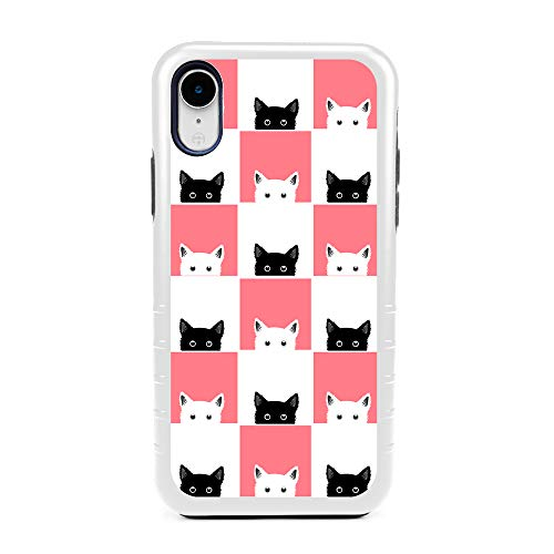 White Checkers Protector Case - Guard Dog Checkerboard Kitties Hybrid Phone Case for iPhone XR with Guard Glass Screen Protector, White with Black Silicone