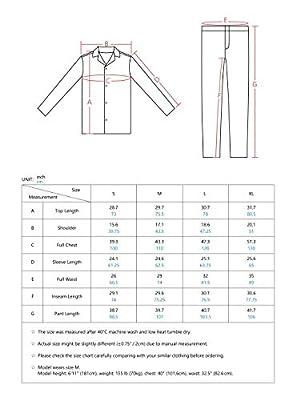 Genuwin Men's Pajama Set 100% Cotton Button Down Long Sleeve Sleepwear Set Loungewear S~XL