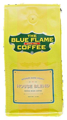 Blue Blend (12oz Blue Flame House Blend Coffee - Whole Bean Coffee - Medium Dark Roast - 12 Ounce Bag)