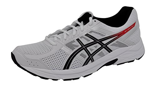 ASICS Men's Gel-Contend 4 Running Shoe White/Classic Red/Black, 10.5 D(M) (Black White Red Shoes)