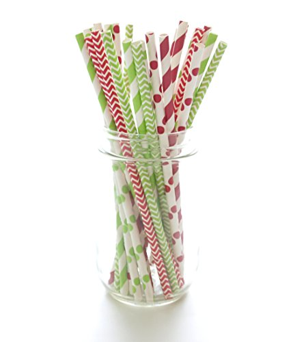 Christmas Straws Red & Green Holiday Straws Vintage Party Supplies Santa Red & Elf Green Straws 25 Pack - December Christmas Straws