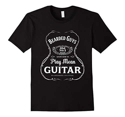 Mens Bearded Guys Play Mean Guitar T-shirt 2XL - Guy Hair Styles Facial Black