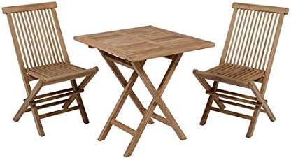 Dabudae Mesa Cuadrada con 2 sillas de Teca para terraza y jardín ...