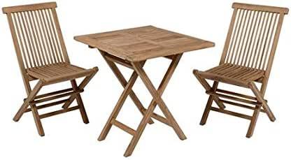 Dabudae Mesa Cuadrada con 2 sillas de Teca para terraza y jardín: Amazon.es: Jardín