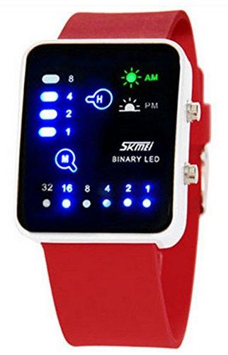 Wutonyu Binary Digital Led Waterproof Boys Girls Sport Casual Wrist Watches  Red