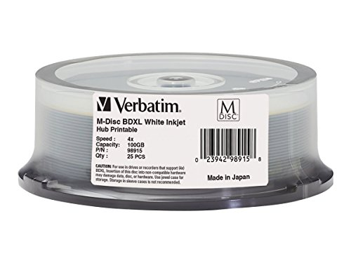 Verbatim M-DISC 100GB BDXL 25pieza(s) - BD-RE vírgenes (BDXL, 120 mm, 100 GB, 10 Año(s), Blanco, 4x)