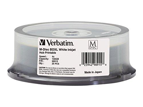 Verbatim 98915 M-Disc BDXL 100GB 4X White Inkjet Printable, Hub Printable – 25pk Spindle - Fellowes Microban Keyboard