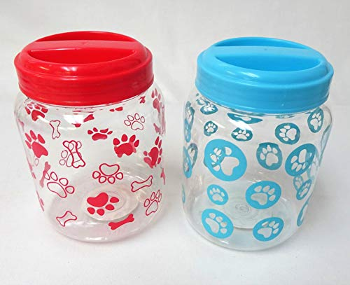 Plastic Dog Treat & Food Storage Jar Containers (Set of 2)