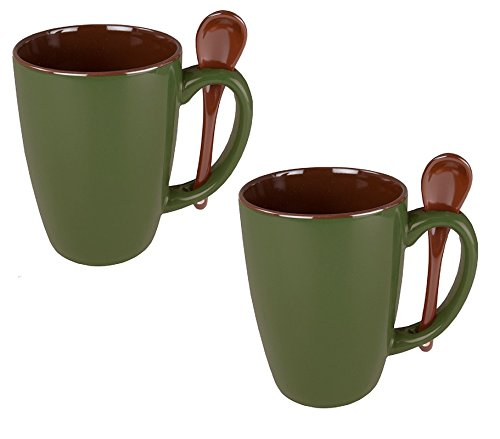 Ceramic Novelty Mug With Spoon Handle, Olive Green w/Chocolate Brown Interior (Pack of 2) ()