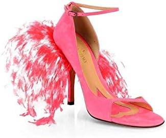 Suede \u0026 Feather High-Heel Sandals 36.5