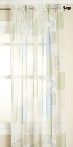 hion Jasmine Tile Print Sheer Rod Pocket Panel, Spring, 56-Inch by 84-Inch (Renaissance Tile)