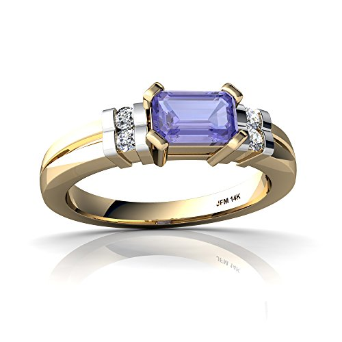 14kt Yellow Gold Tanzanite and Diamond 6x4mm Emerald_Cut Art Deco Ring - Size 6