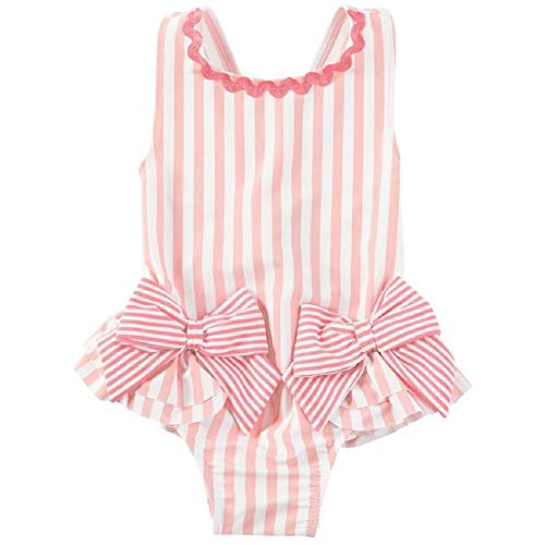 Mud Pie Striped Bow Swimsuit,12-18 Months Pink, White