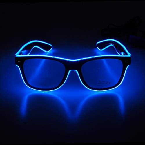 Aquat Light up El Wire Neon Rave Glasses Glow Flashing LED Sunglasses Costumes For Party, EDM, Halloween RB01 (Blue, Black Frame) -