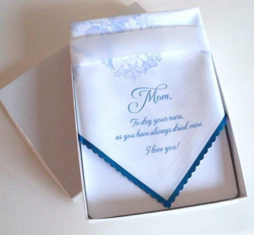 (Mother of the Bride wedding handkerchief with blue hydrangeas, in a gift box)