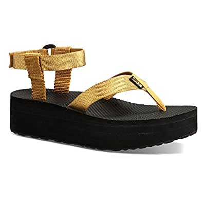Amazon.com | Teva Women's Flatform Sandal Gold 11 M