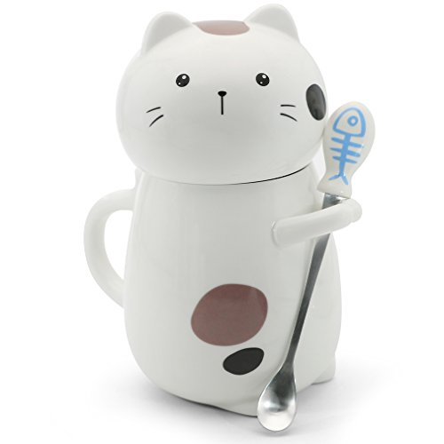 Asmwo Cute 3D Cat Mug Funny Ceramic Coffee Tea Mug w/ Stirring Spoon &  Deal (Large Image)