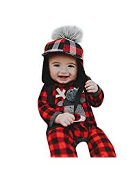 ThePass Christmas Newborn Infant Baby Girl Boy Plaid Deer Romper Jumpsuit Cloth