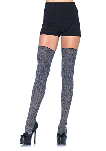 Leg Avenue Women's Heather Rib Knit Thigh Highs, Grey, One Size