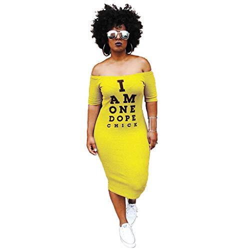 Eshoono Womens Plus Size Off Shoulder Letter Print Bodycon Dress Summer Tunic Dresses Yellow - Shoulder Bodycon Dress