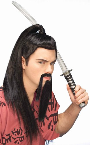 [Forum Novelties Men's Novelty Warrior Beard and Mustache, Black, One Size] (Halloween Costumes Asian)