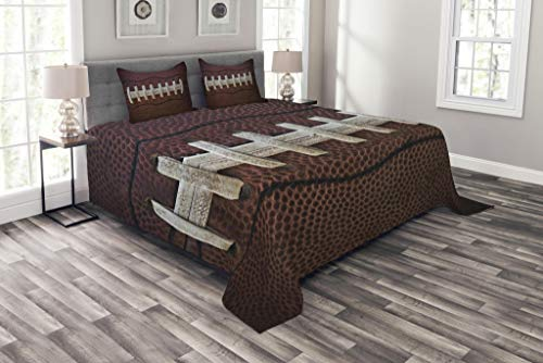Lunarable Sports Coverlet Set Queen Size, American Football Leather Laces Fun Traditional Sport Close Up Photo Print, Decorative Quilted 3 Piece Bedspread Set with 2 Pillow Shams, Dark Brown Beige