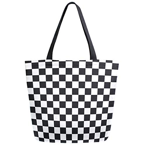 - ZzWwR Stylish Racing Flag Checkers Extra Large Canvas Market Beach Travel Reusable Grocery Shopping Tote Bag Portable Storage HandBags(Black White)