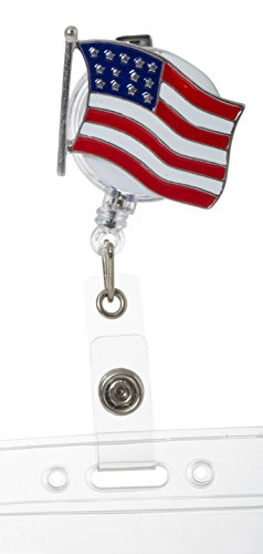 Artisan Owl American Flag Patriotic Retractable ID Badge Reel with Clip for Teachers & School Personnel (Holder Patriotic)