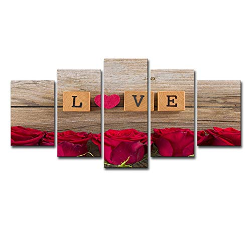 Canvas Princess Room Home Decoration Hd Canvas Print 5 Pieces Red Rose Flower Love Letter-30x45 30x60 30x75cm-framed ()