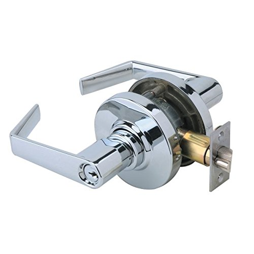 Schlage commercial AL53PDSAT625 AL Series Grade 2 Cylindrical Lock, Entry Function Turn/Push Button Locking, Saturn Lever Design, Bright Chrome Finish by Schlage Lock Company