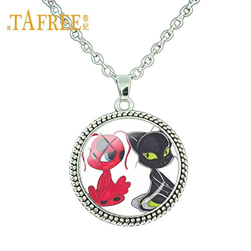 Pendant Necklaces - Cute Cartoon Miraculous Ladybug Necklace Ladybug Girl and Black Cat Lovers Necklace Fashion Jewelry Gift LB107 - by Mct12-1 PCs