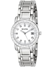 Women's 96R105 Diamond-Accented Stainless Steel Watch