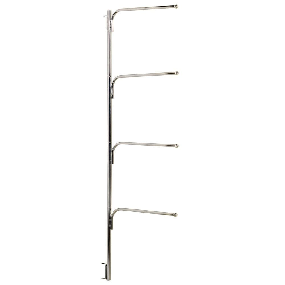 K&A Company Hinge-It Clutter Buster Door Towel Rack - Chrome, 70'' x 0.75'' x 5 lbs