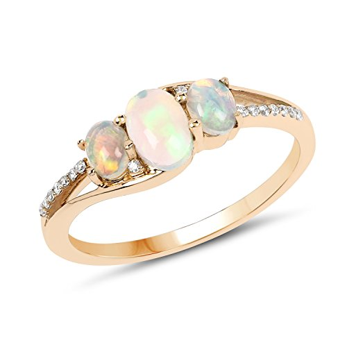 14K Yellow Gold Ethiopian Opal & White Diamond Ring (0.56 ctw, I-J Color, I2-I3 Clarity) from Johareez ()