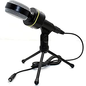 Microphone,Ollivan SF-920 Professional Wired Mikrofon Tripod Microphones 3.5mm Jack Condenser Microphone for Computer Tablet PC Laptop MP3 Recorder Mike (BLACK)