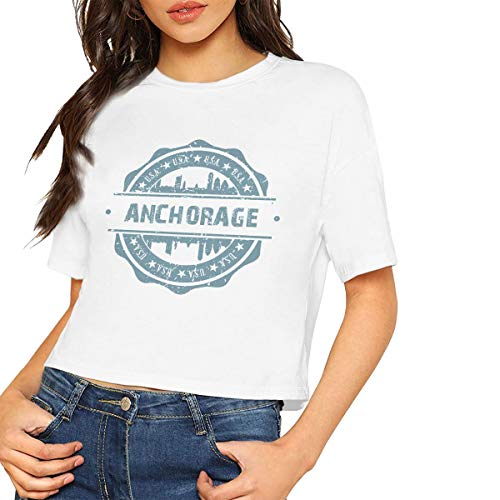 X-JUSEN Women's Anchorage Alaska O-Neck Bare Midriff Cotton T Shirts Pullover Tee, Sexy Crop Tops ()