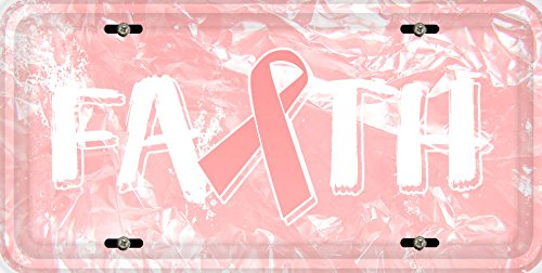 Breast Cancer Awareness Faith Ribbon Car Vehicle License Plate Auto Tag