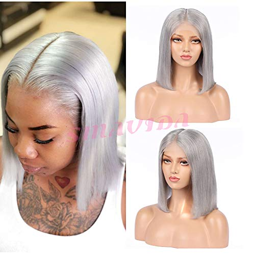 Grey 13x6 Short Bob Lace Front Wigs Human Hair Pre Plucked Thick 150% Density Brazilian Virgin Hair Straight Bob Hairstyle Deep Parting Lace Wigs Bleached Knots for Black Women Color 10 Inch