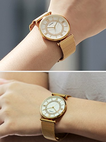 Amazon.com: SINOBI Womens Diamond-Accented Gold-Tone Watch with Mesh Bracelet, Simple Roman Numeral reloj de pulsera: Watches