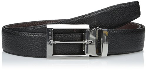 Satin Belt Reversible - TUMI Men's Pebbled Harness Reversible Belt, Nickel Satin/Reversible, 42