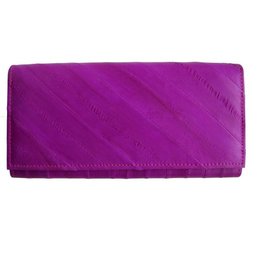 Eel Skin Clutch - Rainbow Women's Genuine Eel Skin Leather Clutch Wallet Magenta