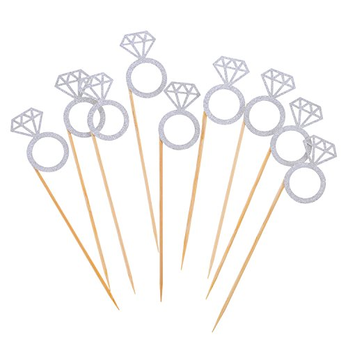Cute Bridal Shower Favors (Mtlee 35 Pack Cupcake Toppers Silver Artificial Diamond Ring Cake Picks, Cakes Decorations Party Favors Supplies)