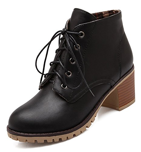 Aisun Womens Casual Mid Chunky Heel Short Boots Lace Up Round Toe Ankle Booties Shoes Black oMyCaJFt