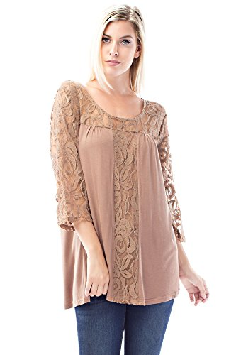 Betsy Red Couture Women's Plus Size Lace Top (2X, Taupe)
