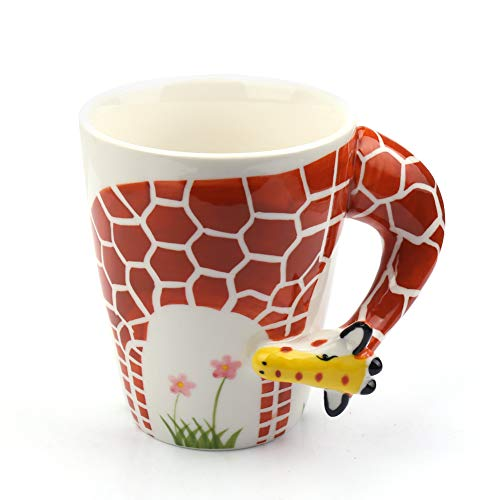 Coffee Mug with 3D Handle,Creative Hand Painted Giraffe Ceramic Mug 13oz,Porcelain Morning Cup for Milk Tea,Novelty Funny Cartoon Animal Drinking Mug,Cute Birthday Gift for Women Kids (Giraffe) ()
