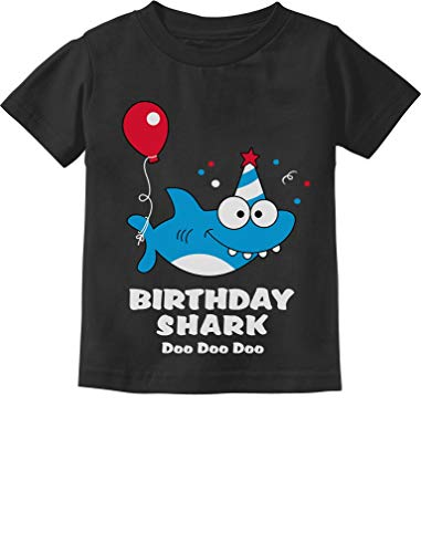 Tstars - Birthday Shark Doo doo Song Funny Gift Toddler Kids T-Shirt 3T Black Birthday Funny Toddler T-shirt