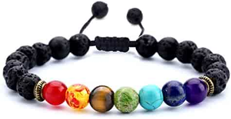 Hamoery Men Women 8mm Lava Rock 7 Chakras Aromatherapy Essential Oil Diffuser Bracelet Braided Rope Natural Stone Yoga Beads Bracelet Bangle-21004