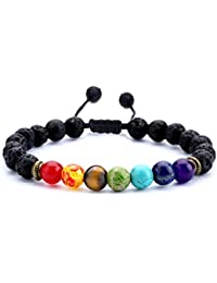 Men Women 8mm Lava Rock 7 Chakras Aromatherapy Essential...
