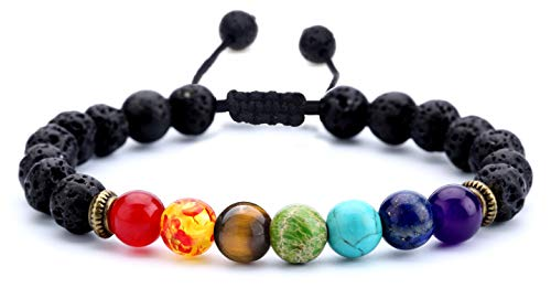 Hamoery Men Women 8mm Lava Rock Beads Chakra Bracelet Braided Rope Natural Stone Yoga Bracelet Bangle(Lava Chakra)